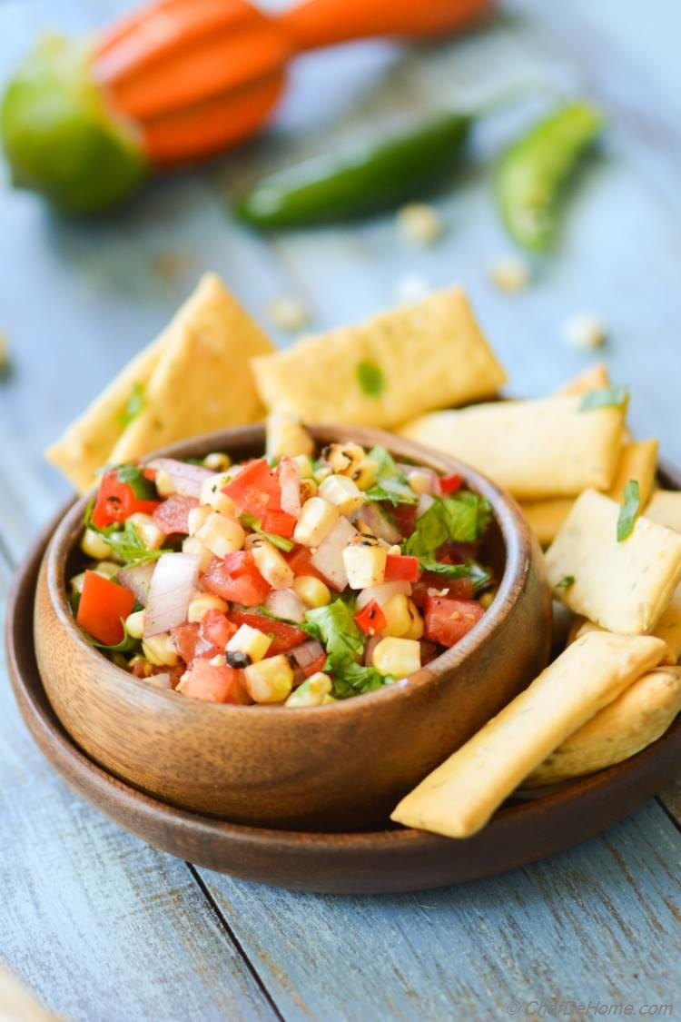 Chili Lime and Roasted Corn Salsa! Party friendly! Gluten-Free, Dairy-Free and Vegan!