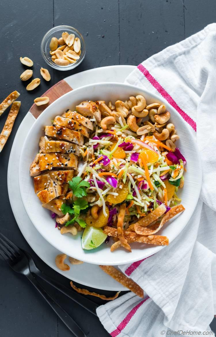 Chinese Chicken Salad with delicious salad dressing and grilled chicken