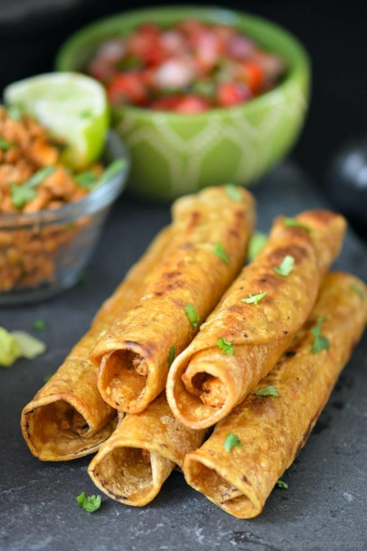 Cripsy Taquitos stuffed with Chipotle Sofritas for your next Mexican Dinner