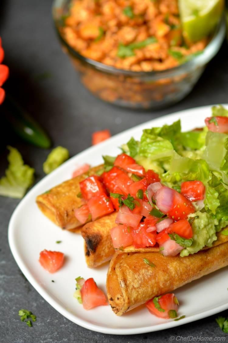 Homemade Vegan and Gluten Free Chipotle Sofritas Taquitos with Strawberry Salsa