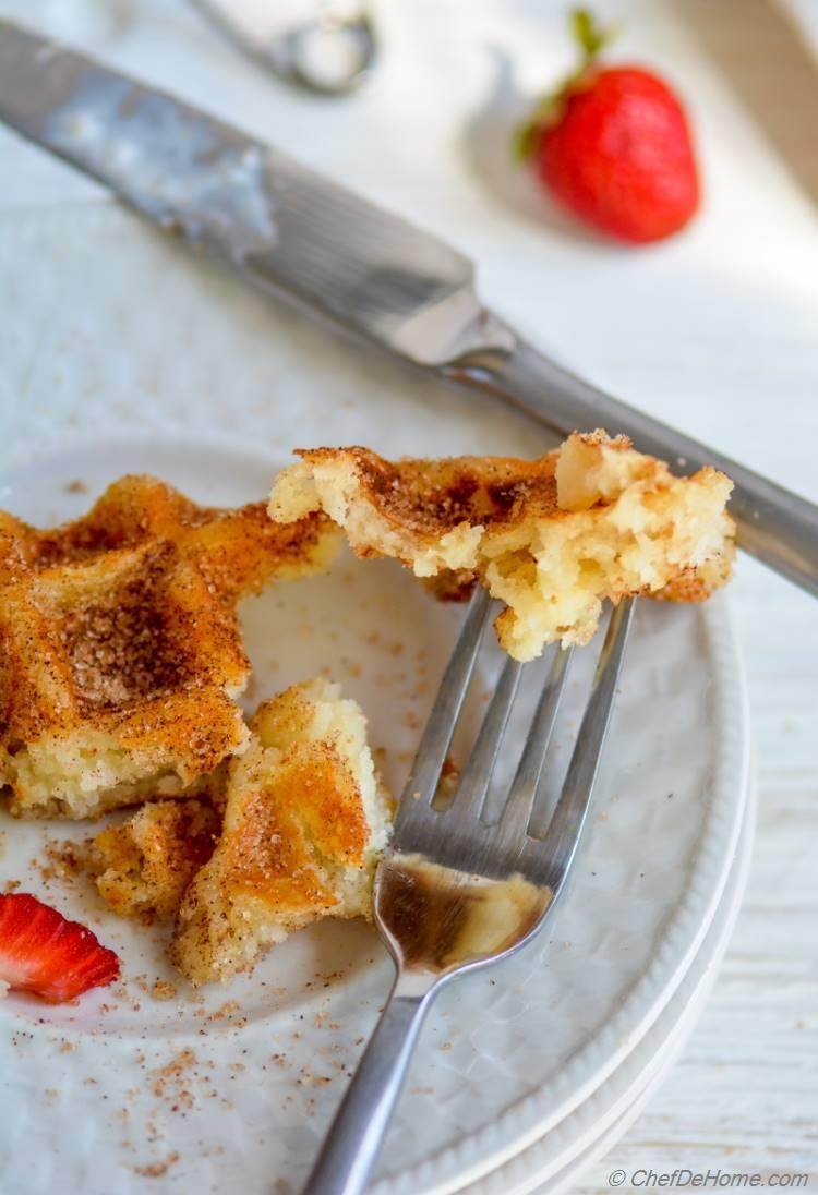 Crispy Churro Dough Waffles for delicious Family Breakfast | chefdehome.com