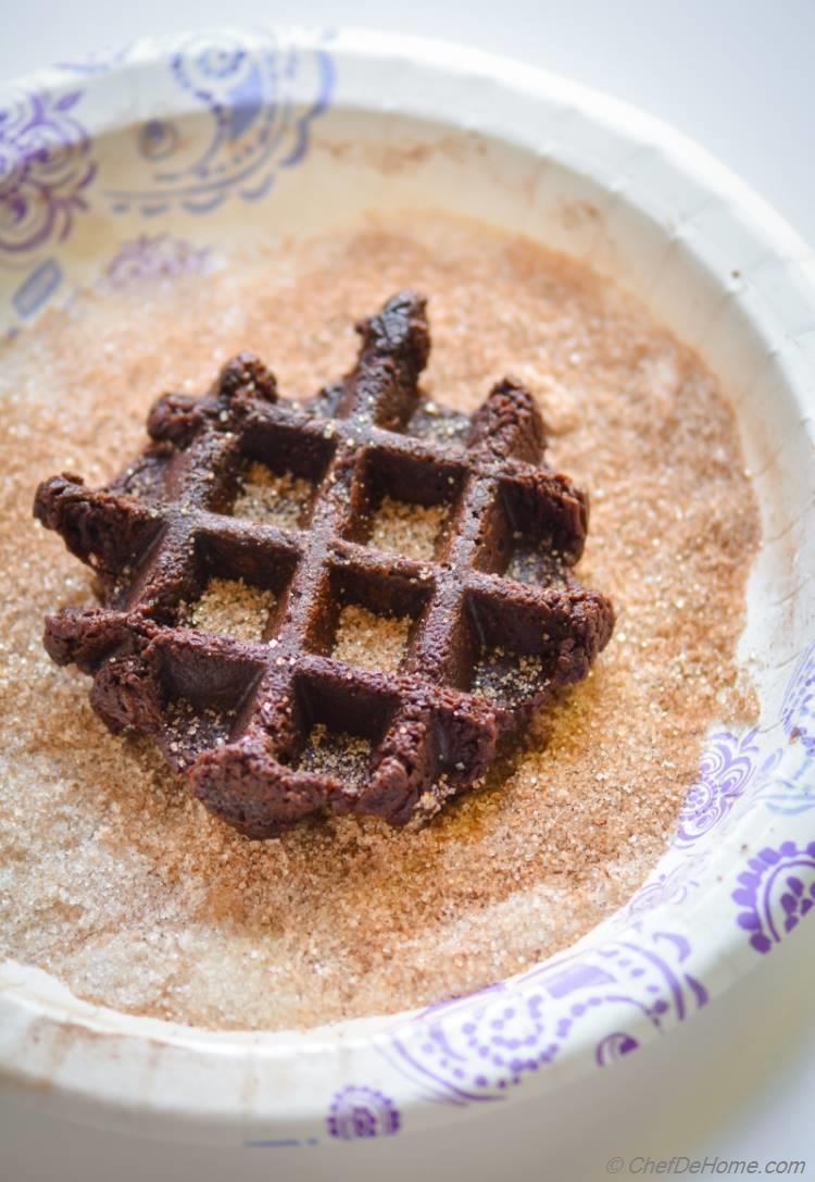 Cinnamon Sugar Coat Churro Waffle with Chocolate   chefdehome.com