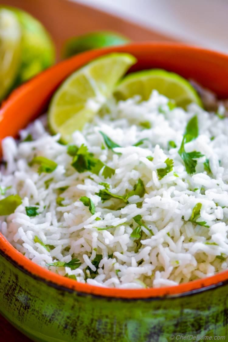 Lite Fluffy Tangy Cilantro Rice | chefdehome.com