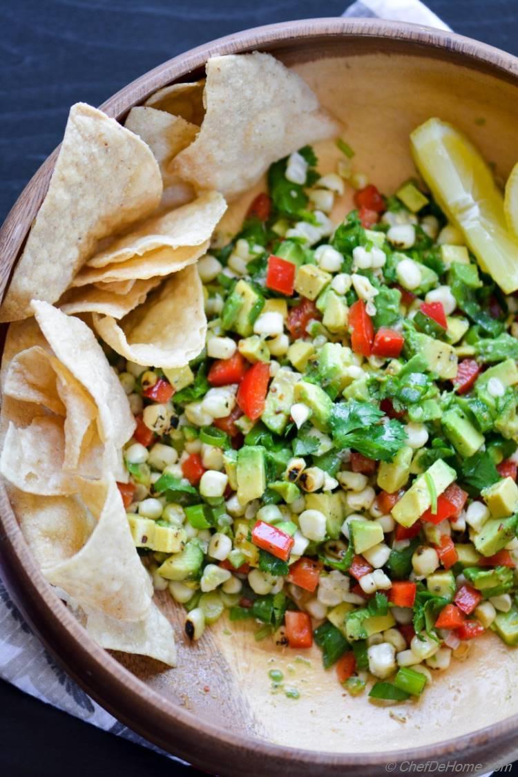 Vegan Gluten Free Roasted Corn Avocado Guacamole | chefdehome.com