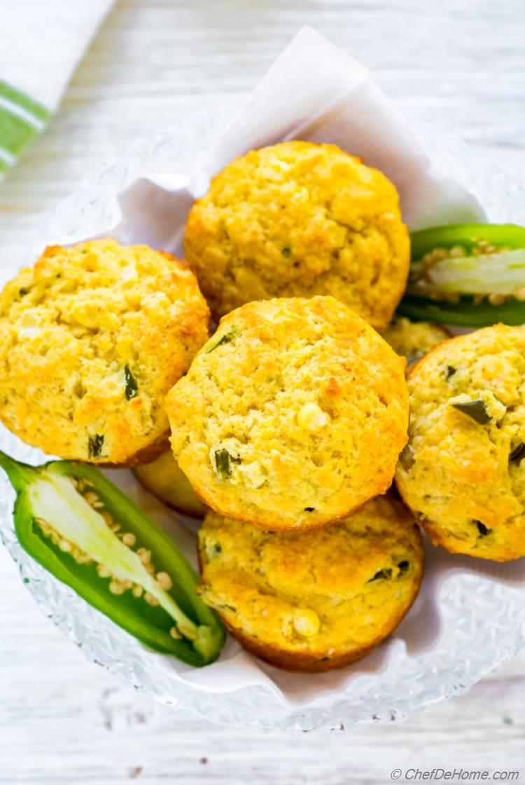 Sweet Cornbread Muffins with corn and jalapenos