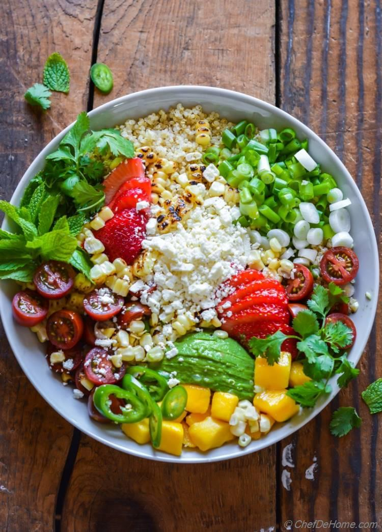 Sweet and spicy Mexican Street Corn in a California Inspired Corn and Quinoa Salad | chefdehome.com