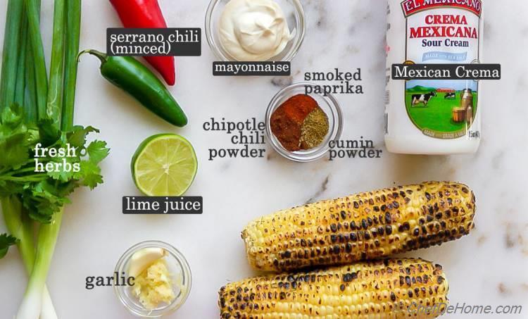 Ingredients for Street Corn Salad Dressing