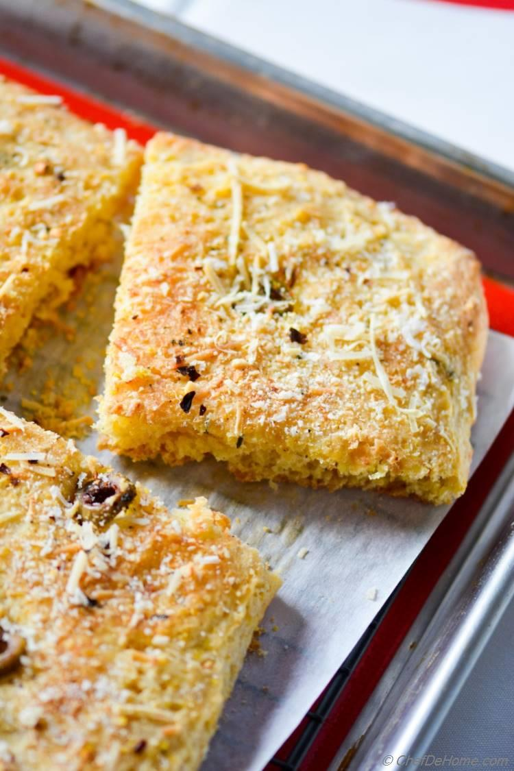 Cornbread Focaccia, an fresh, rustic, and easy breakfast bread