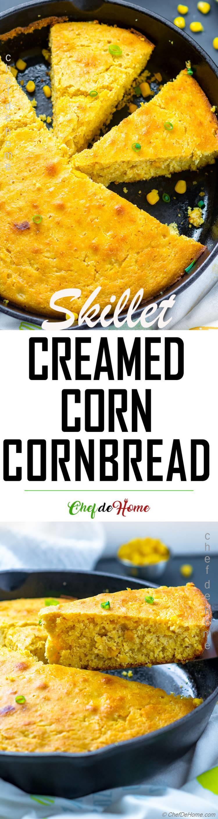 cornbread baked in iron skillet