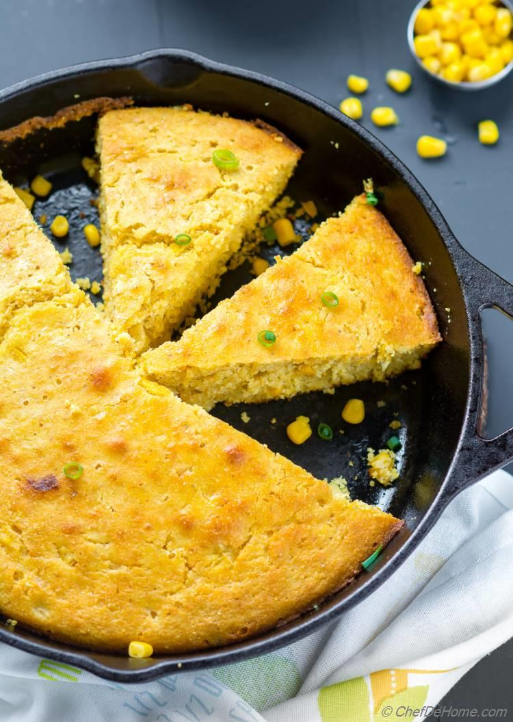 Crusty Moist Skillet cornbread with Creamed Corn