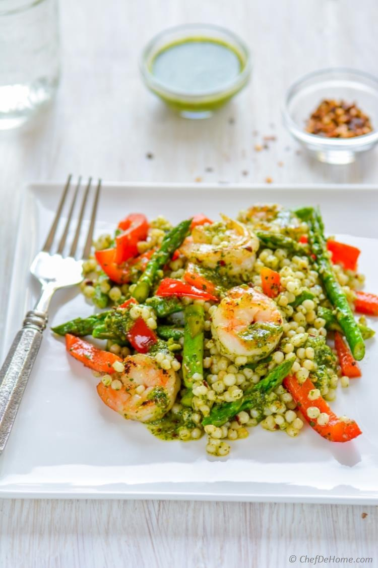 Zippy Chimichurri Mint Sauce with grilled shrimp and couscous pasta | chefdehome.com
