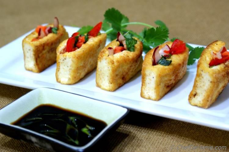 Veggies Filled Pan Seared Tofu Pockets | chefdehome.com