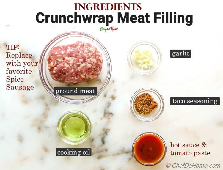 Ingredients Meat Filling Crunchwrap