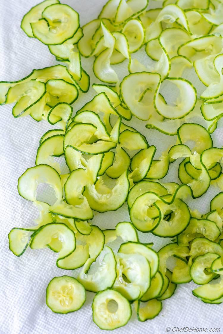Draining Water Thin Sliced Cucumber