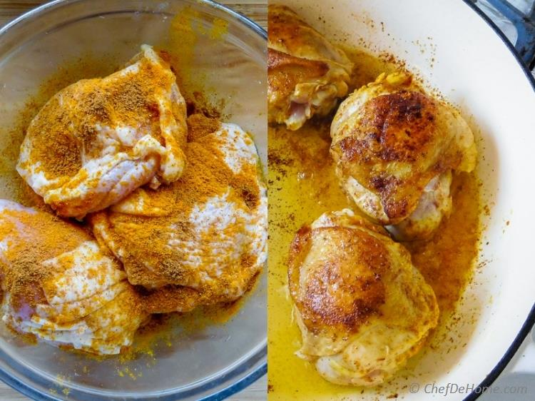 Curry Spiced Chicken Pan Seared before making One Pot Chicken Rice | chefdehome.com