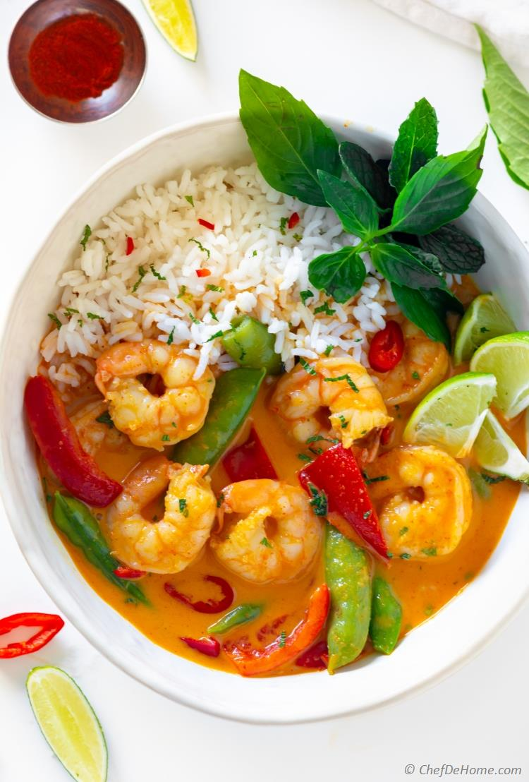 Shrimp Red Curry with rice