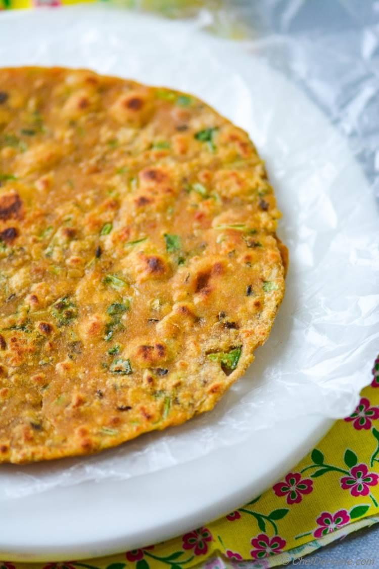 Turmeric-rich Breakfast Flat Bread - Daal Parantha