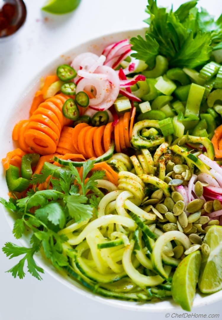 Spiralized Noodle Salad with celery cucumber and zucchini