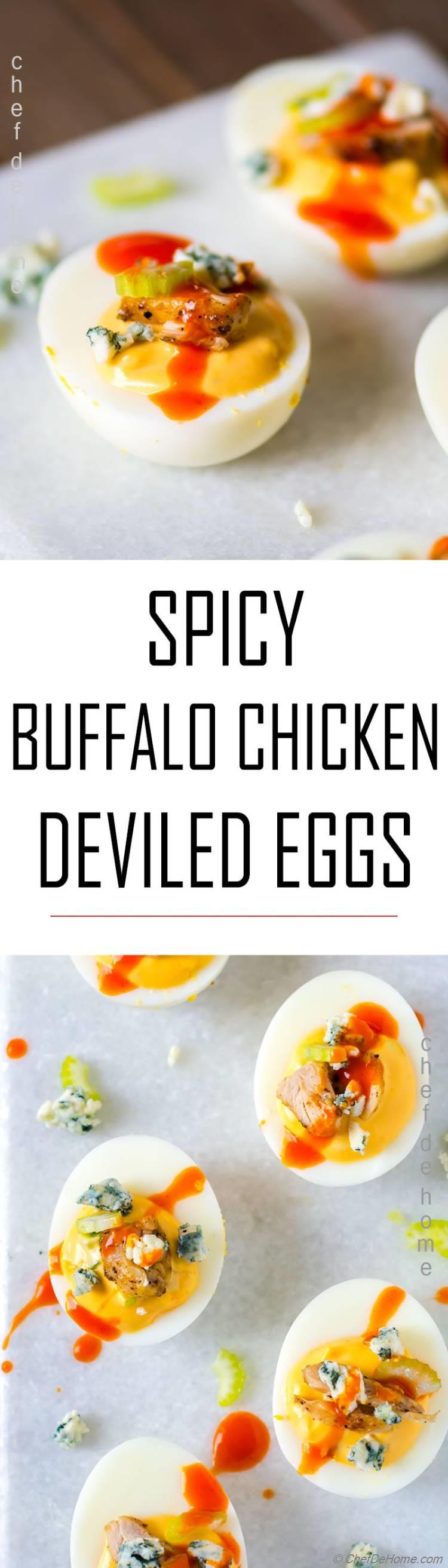 Spicy Deviled Eggs with buffalo sauce chicken and blue cheese