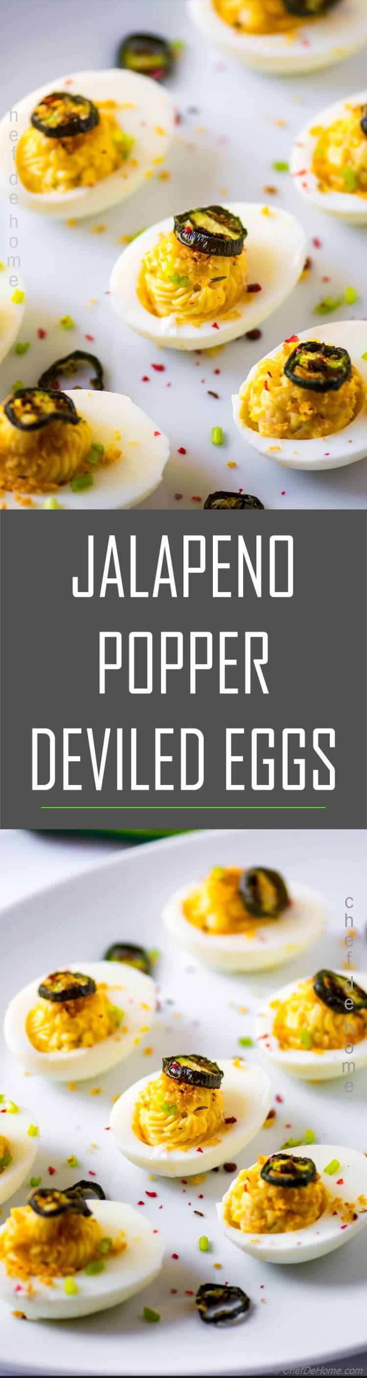 Deviled eggs with roasted jalapeno and cream cheese for jalapeno popper deviled eggs | chefdehome.com