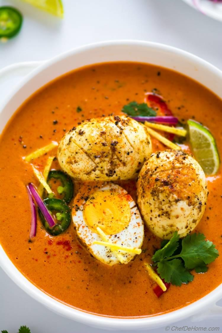 Egg Curry with tikka masala gravy a Indian egg curry dinner