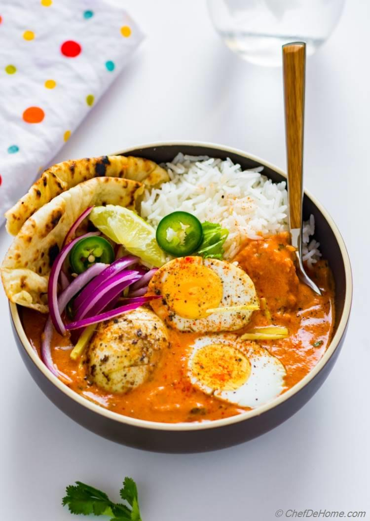 Egg curry tikka masala recipe chefdehome egg curry tikka masala sauce naan and rice for indian egg curry dinner forumfinder Images