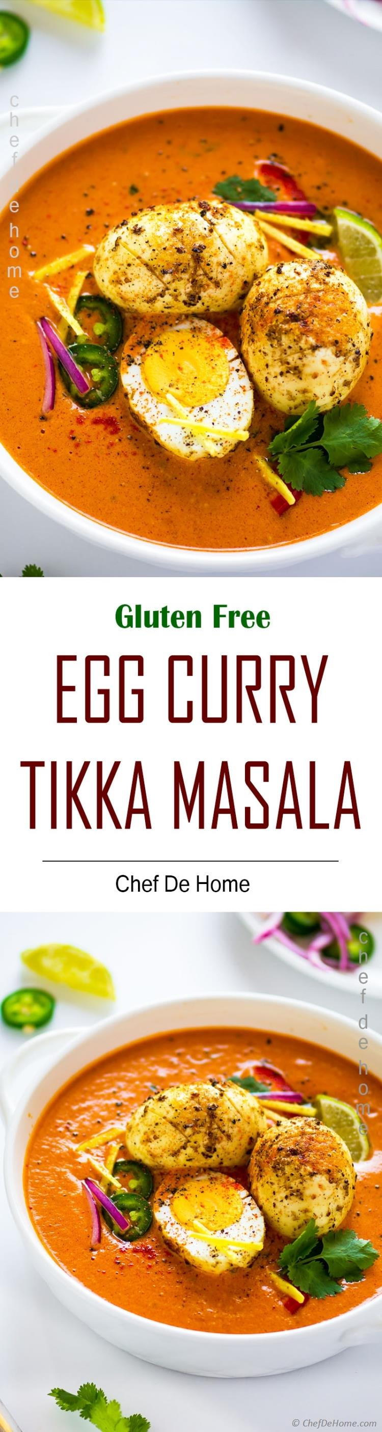 Creamy tikka msala sauce and curried eggs for egg masala dinner with rice and chapathi