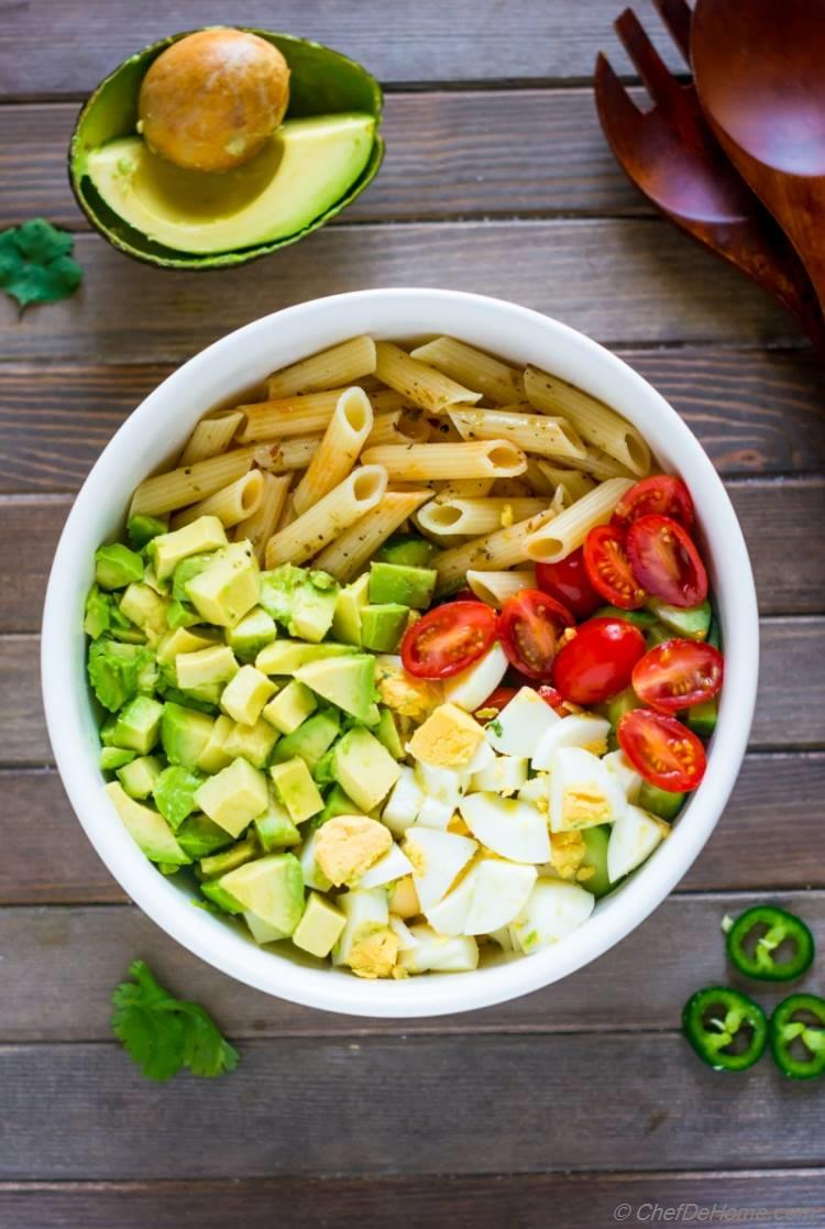 Ingredients for Deviled Egg Pasta Salad
