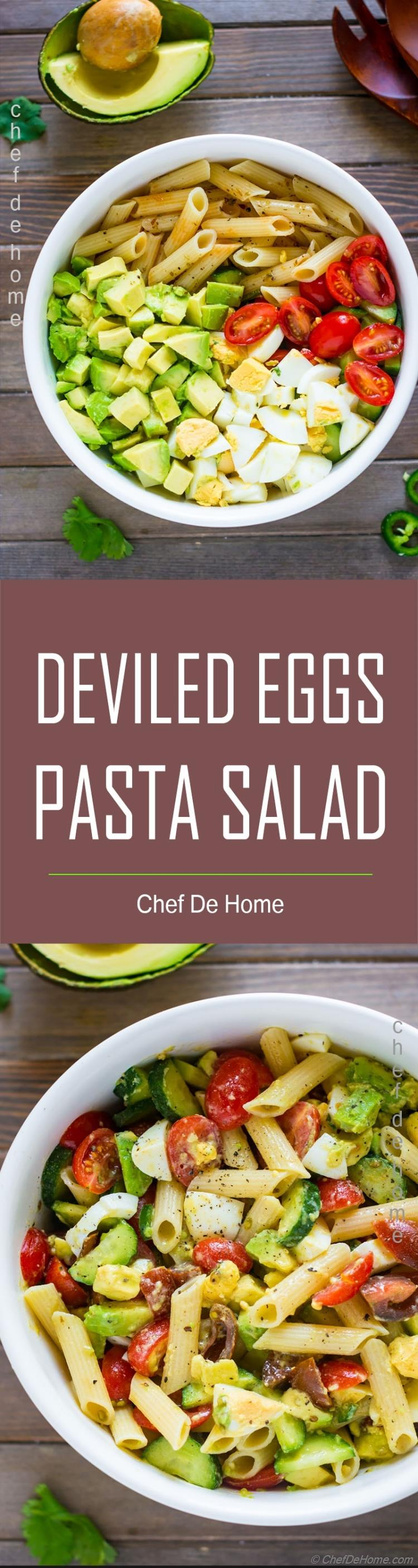 Pasta salad with avocado egg tomato and zesty dressing