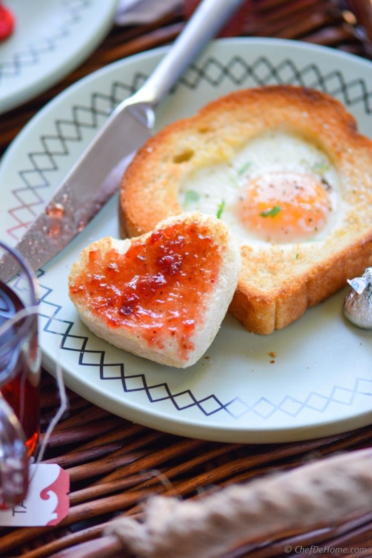 Egg Heart Toasts for Breakfast on Valentines Day