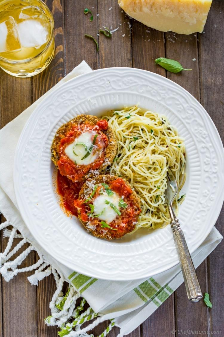 Healthy Light The Best Baked Eggplant Parmesan with light garlic-herb pasta and delicious marinara sauce | chefdehome.com