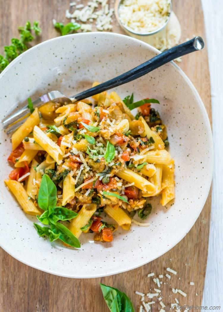 with eggplant whole wheat pasta with roasted eggplant and tomatoes ...