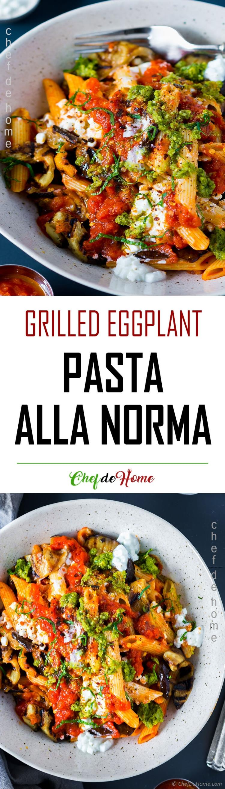 Homemade Pasta Norma Bowl with Grilled Eggplant