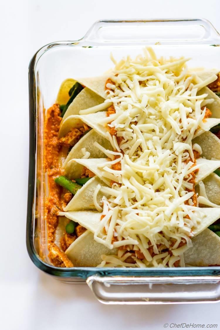 Vegetarian Enchiladas Assembled in Casserole