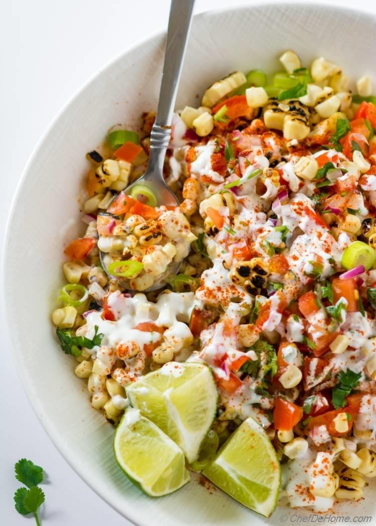 Esquites Mexican Corn salad perfect for BBQ side