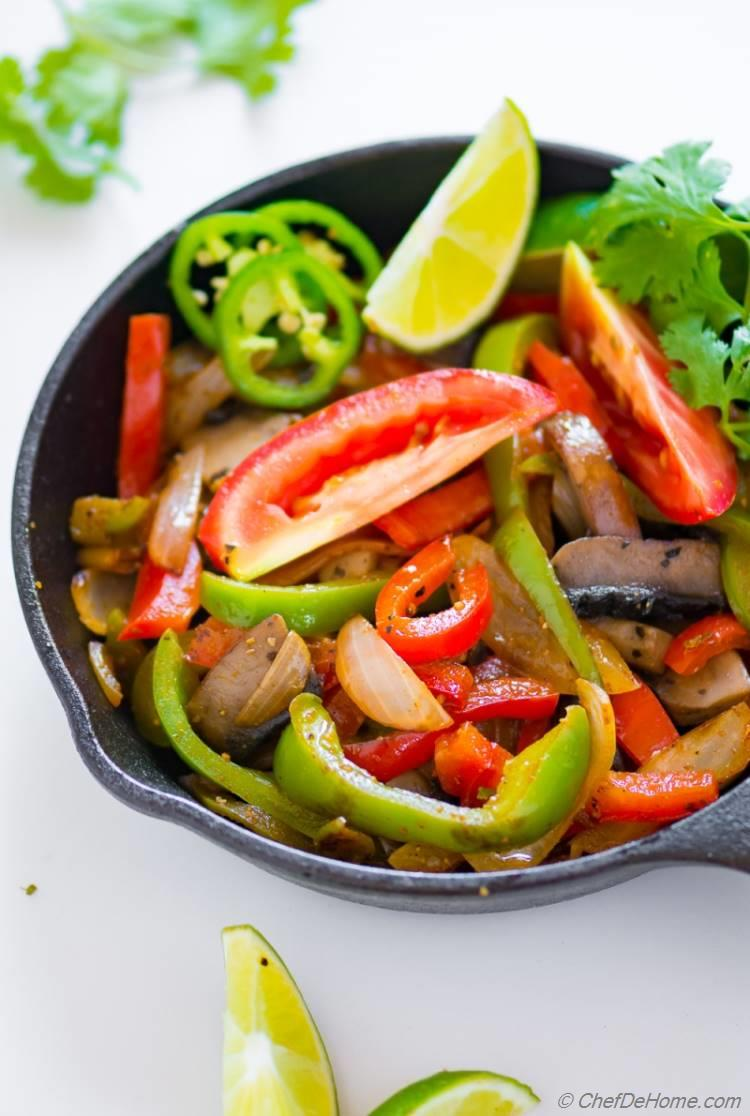 Vegetarian Fajitas Recipe with Mushroom and Bell Peppers