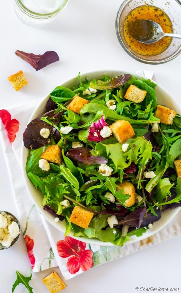 chilis queso fresco salad of spring greens and lemon honey dressing | chefdehome.com