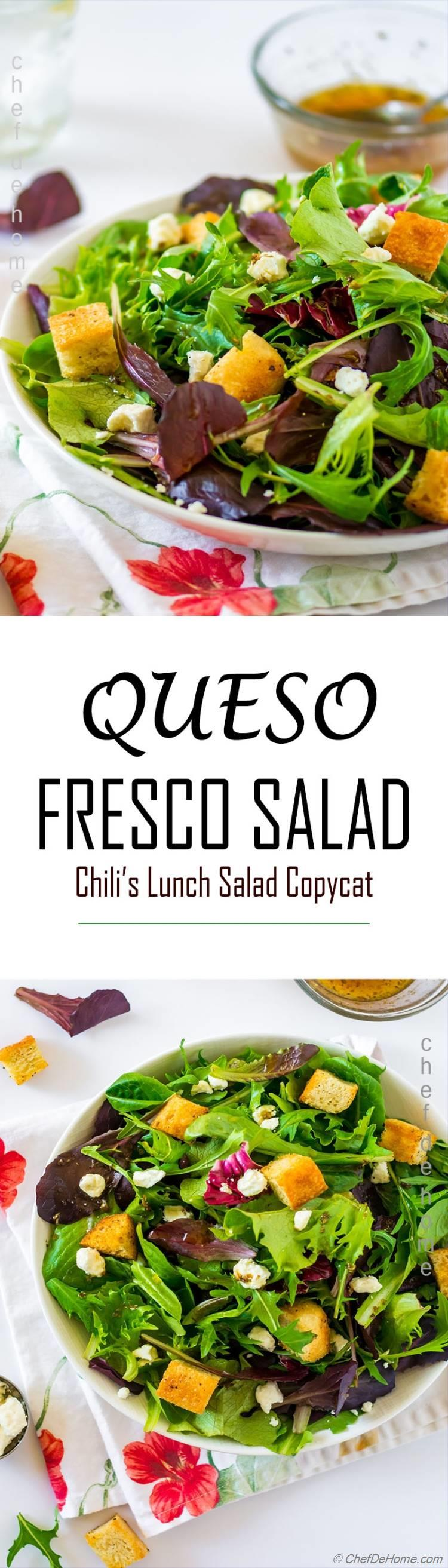 chilis fresco salad of spring greens, queso, and lemon honey dressing | chefdehome.com