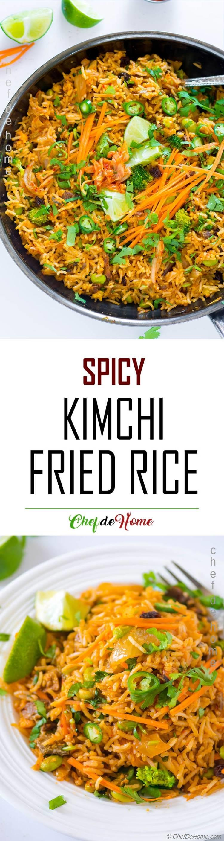 Easy Spicy Weekday dinner with veggie Kimchi Fried Rice