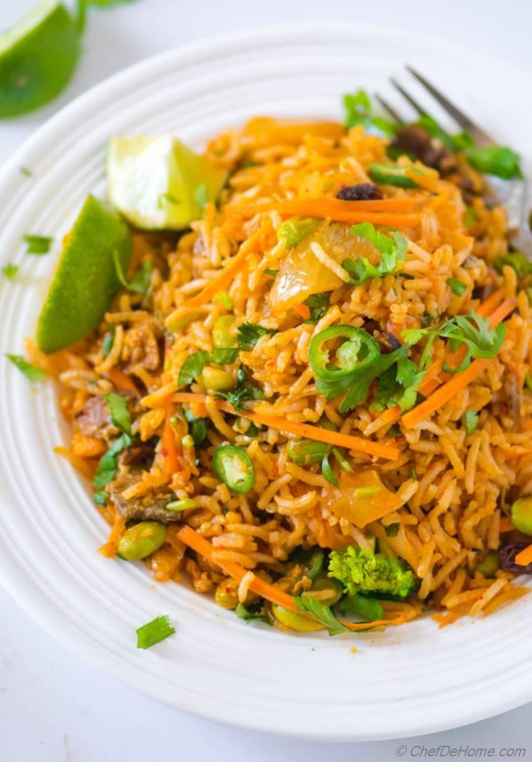 Spicy Kimchi Fried Rice with mushroom and broccoli