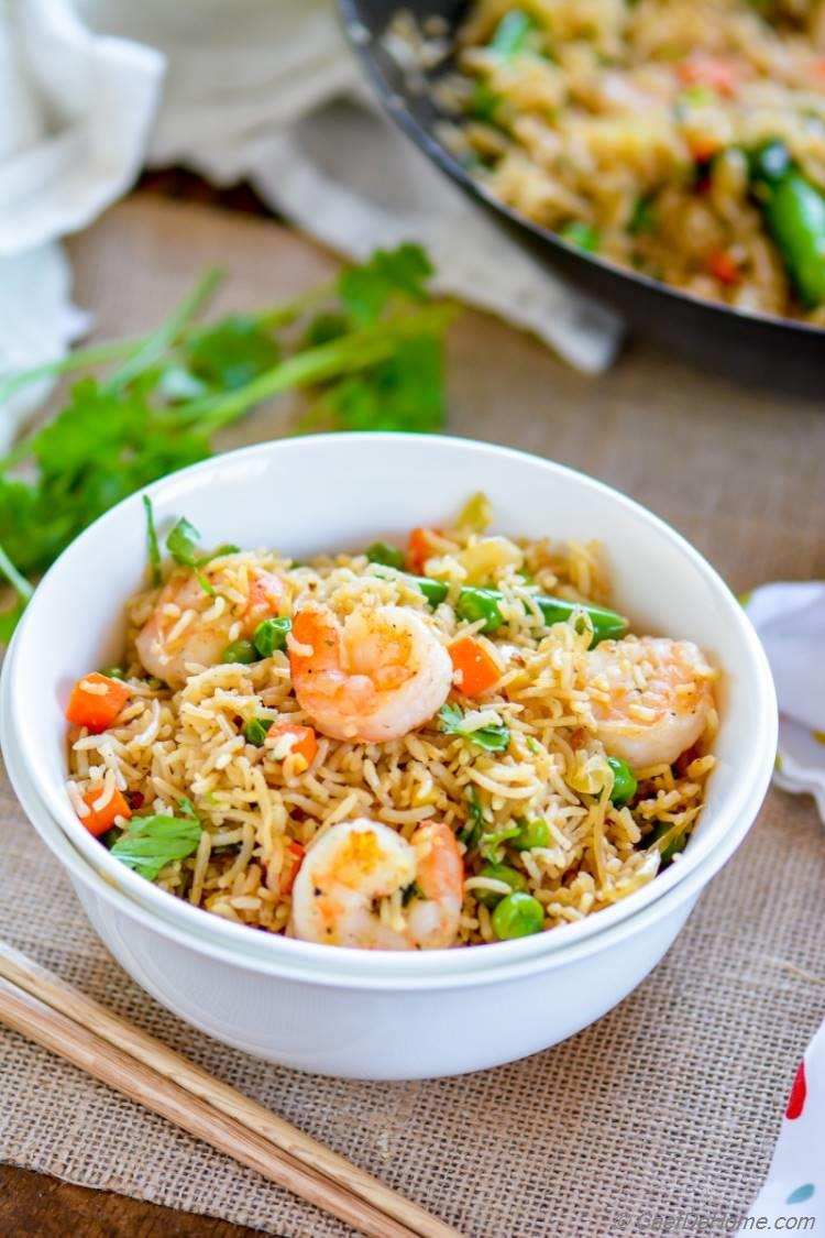 Spicy Shrimp Fried Rice Recipe | ChefDeHome.com