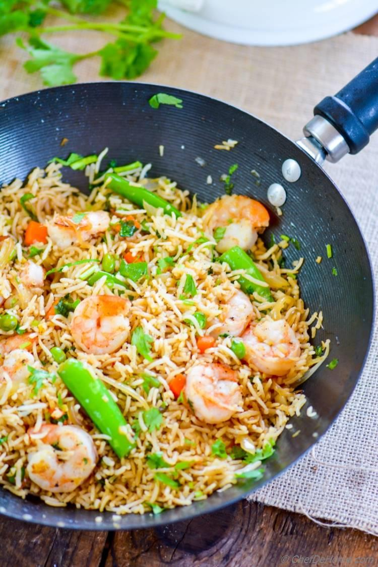 Easy flavorful Shrimp Fried Rice ready in 15 minutes | chefdehome.com