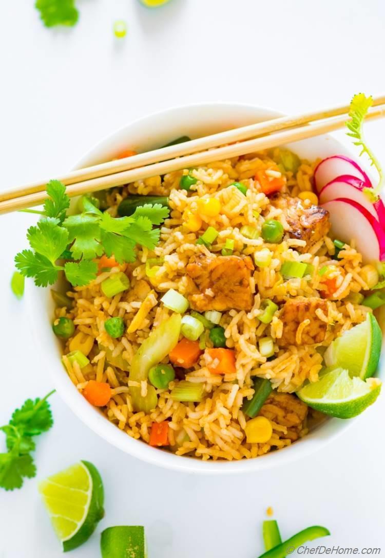 Vegan Fried Rice Bowl with spicy sriracha marinated tempeh