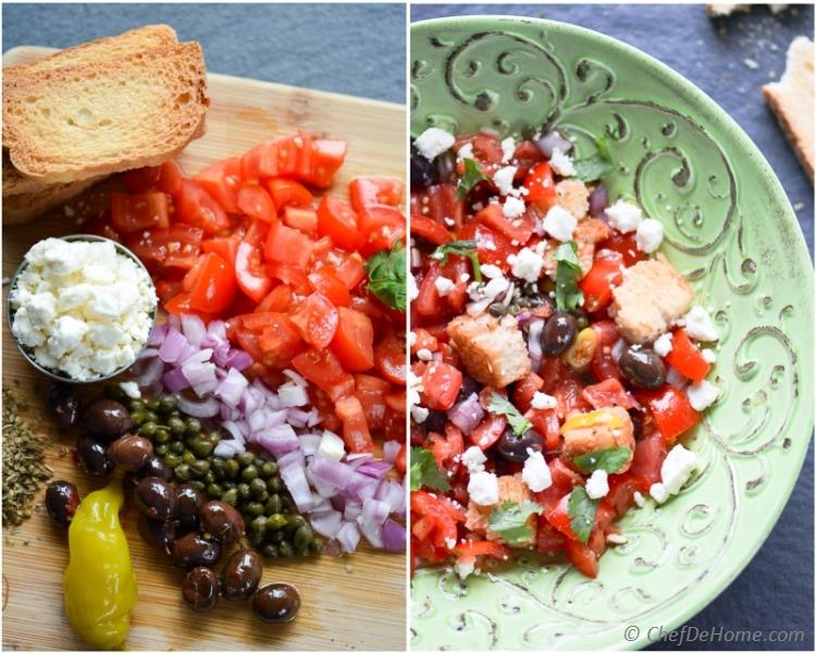 Greek Dakos Bread and Tomatoes Salad