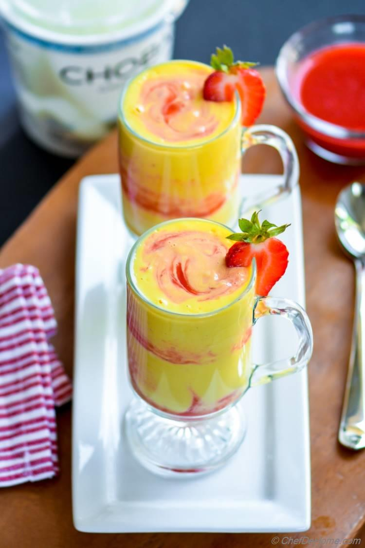 Mango Strawberry Swirl Yogurt Smoothie
