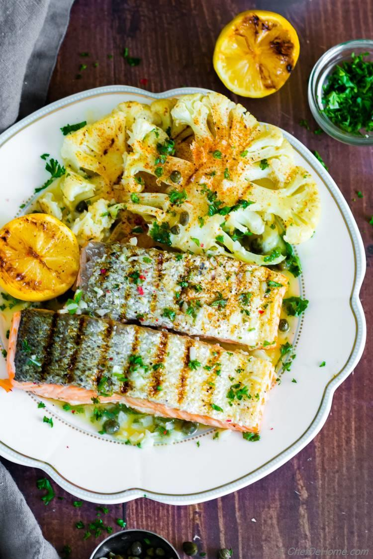 Grilled Salmon with lemon sauce and cauliflower steak