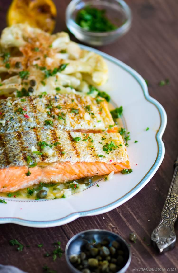 Perfect Grilled Salmon Fillet with Lemon Butter Capers