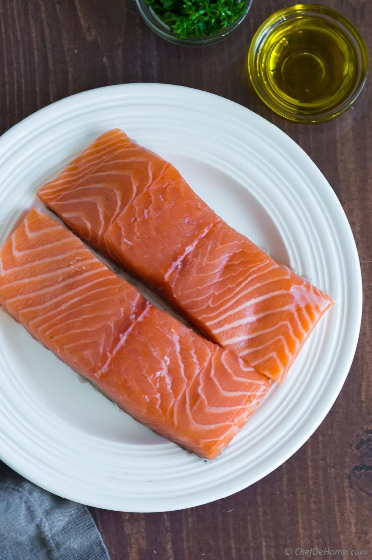 Raw Salmon Fillet on a Plate