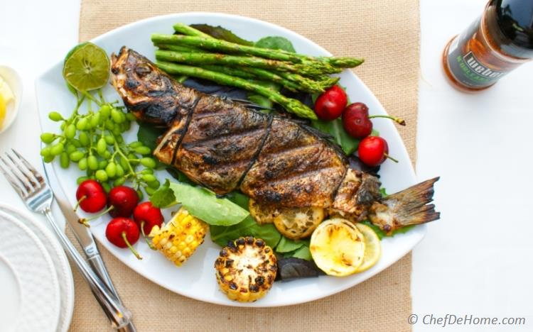 Cajon Seasoned Whole Grilled Branzino with Lemons