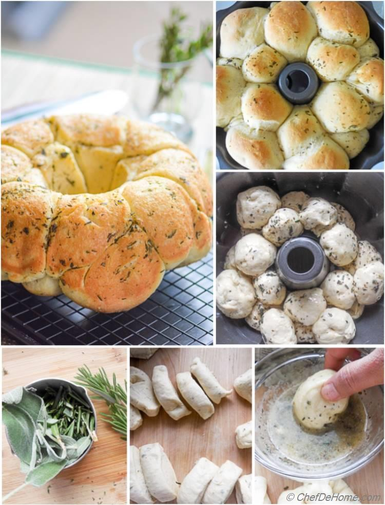 Making of a Savory Herb Monkey Bread
